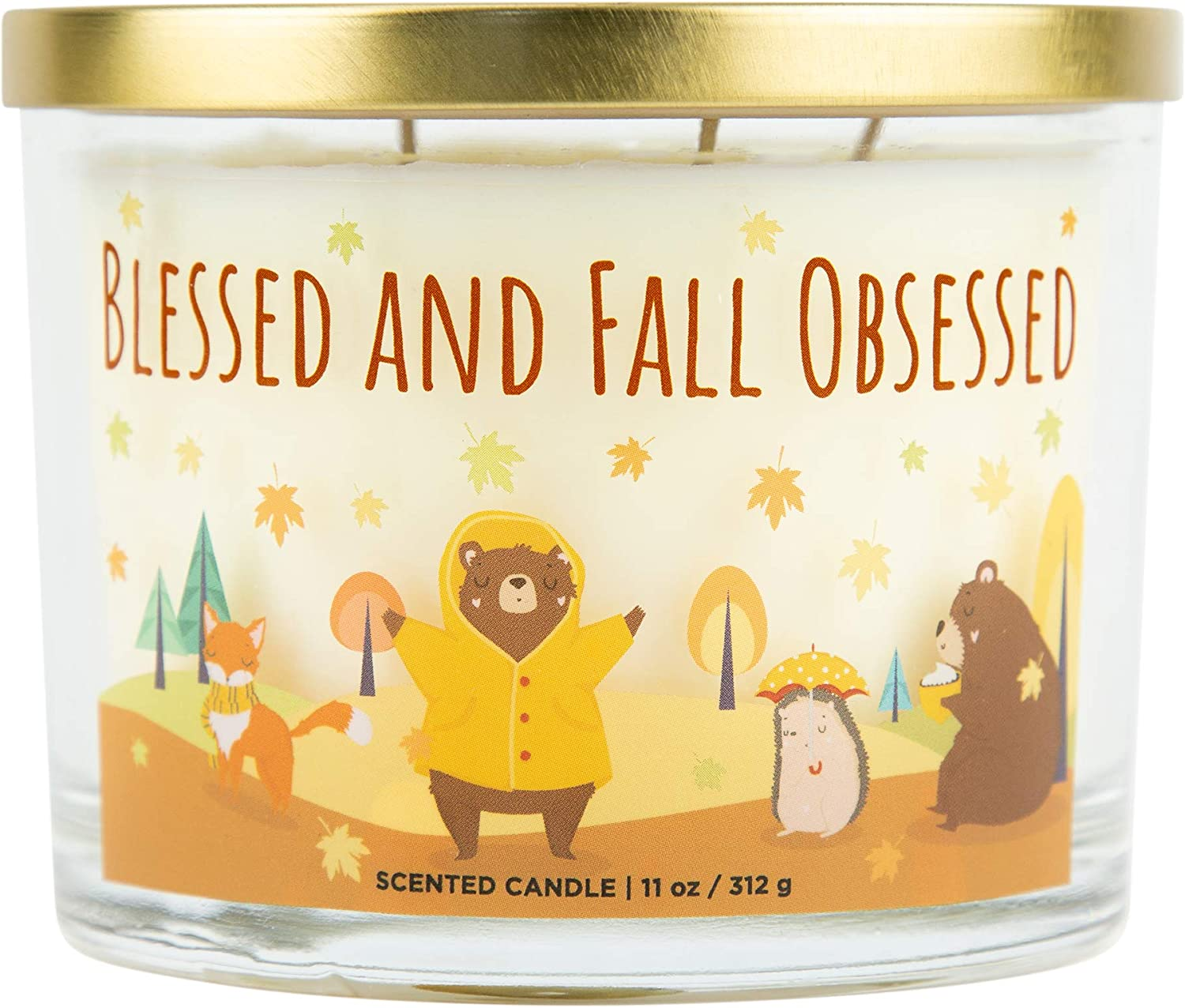 Aromascape Blessed & Fall Obsessed, 3-Wick Scented Candle, Blessed and Fall, White
