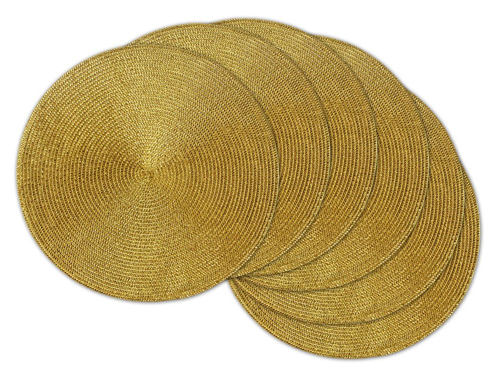 "DII Round Braided & Woven, Indoor/Outdoor Placemat or Charger, Set of 6, Metallic Gold - Set of 6 round, braided placemats has a 14.75"" Diameter, shake briskly and wipe with damp sponge for easy care Great for indoor or outdoor use; use as a placemat or charger Coordinate with DII everyday napkins and napkin rings to create the perfect place setting - placemats, kitchen-dining-room-table-linens, kitchen-dining-room - 815CpBlwdWL -"