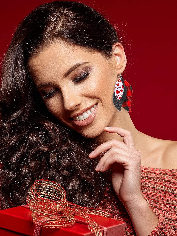 20 Pairs Valentines Day Faux Leather Earrings Heart Teardrop Pattern Dangle Earrings for Women
