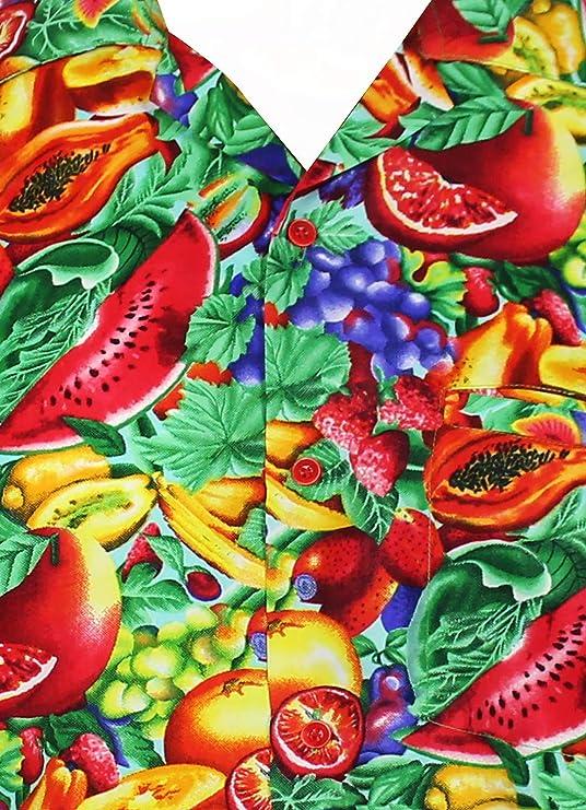 VHO Funky Camicia Hawaiana da Uomo | XS 6XL | Maniche Corte | Tasca Frontale | Stampa Hawaiana | Tutti Frutti