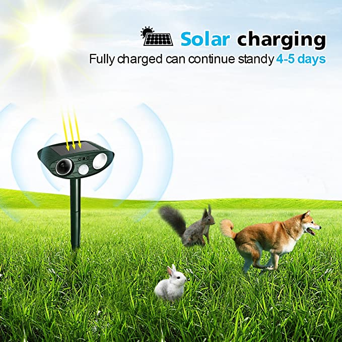 Focuspet Animal Repelente Solar Animal Repelente Ultrasonido para Ahuyentar Animales Defensas y Luz Flash para Perros,Gatos,Ardilla,Rata,Ahuyentar ...