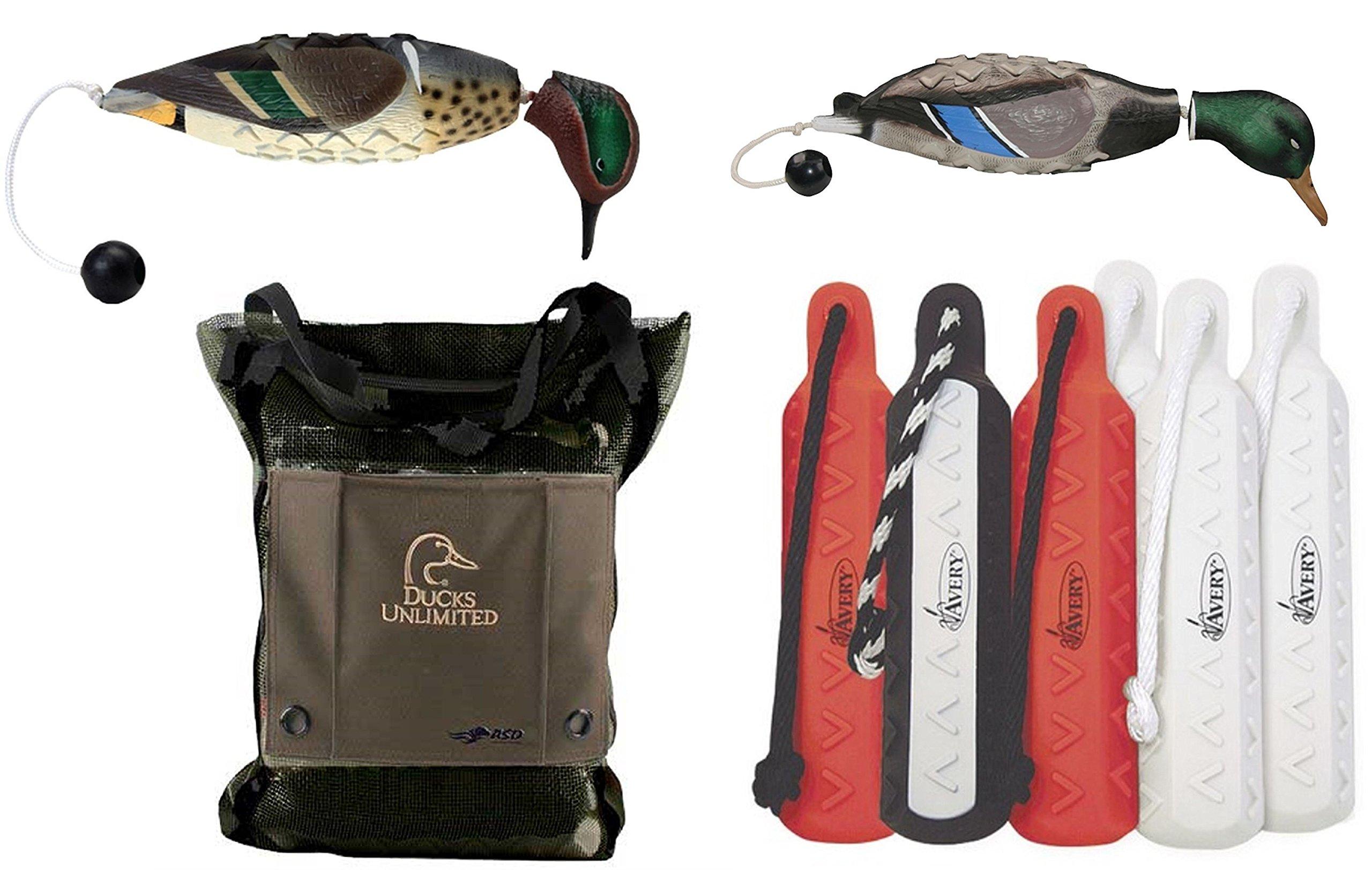 Avery Teal Dog Training EZ-Bird Training Dummy , Mallard ATB EZ-Bird Dog Training Dummy , Sporting Dog Bumper/Bird Bag, 2'' Hexa-Bumper Pro Pack