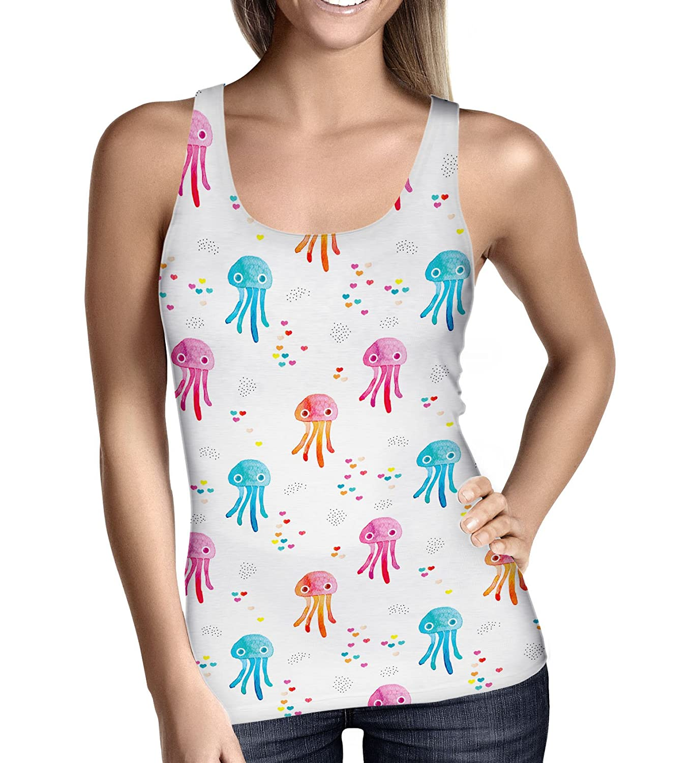 Watercolor Jelly Fish Ladies Tank Top Gym Workout