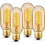 Edison Light Bulb, 40 Watt Vintage Light Bulb, Dimmable Incandescent Light Bulb, 110v - 130v, E27/E26 Base - Amber Warm - T45 Tubular Shape - Clear Glass Light Bulbs for Home Light Fixtures