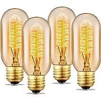SooFoo - Foco T45 Edison de estilo tubular, estilo clásico, base E27 E26, 110 – 130 V, 40 W, color blanco cálido, vidrio transparente tubular, foco de filamento para lámparas de hogar decorativas, regulable, Paquete de 4