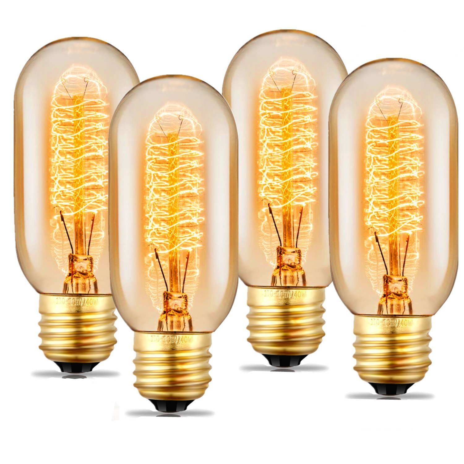 Edison Light Bulb,4-Pack SooFoo 40W Vintage Antique Style Incandescent Light Bulb, E26 E27 Base,110V,T45 Tubular Amber Clear Glass, Warm white,For Home Light Fixtures and Decorative, Dimmable