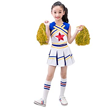 DREAMOWL Girls Cheerleader Outfit Uniform Costume Cosplay Youth Red Star Cheer  Outfit (4-5 1fb4d8840