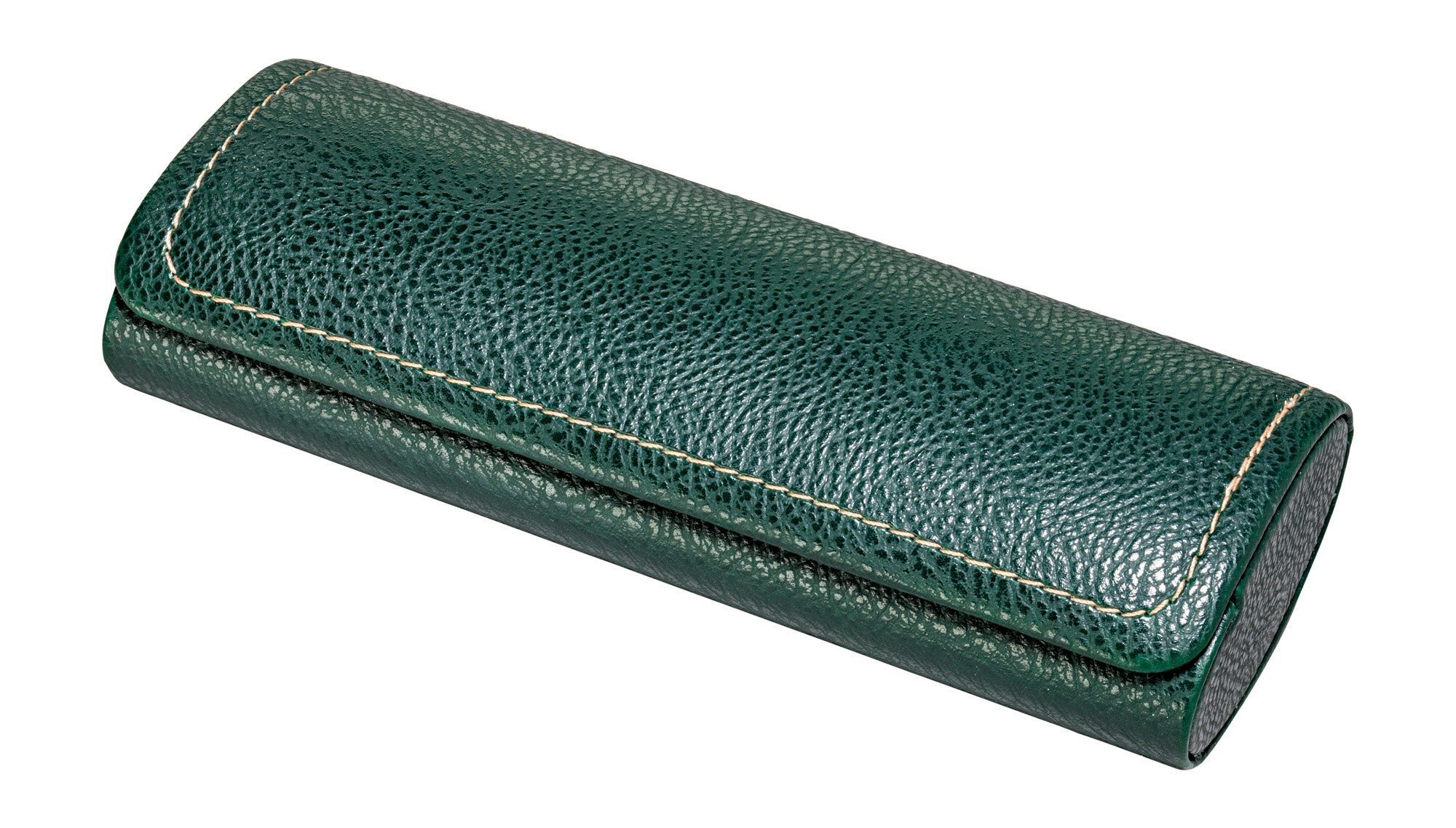 Glasses Case For Men, Women, Hard Eyeglass Case W/ Magnetic Closure In Faux Leather, Green
