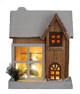 LED Weihnachtsdorf aus Holz Spieluhr Weihnachten Deko Weihnachtsdeko Holzhaus