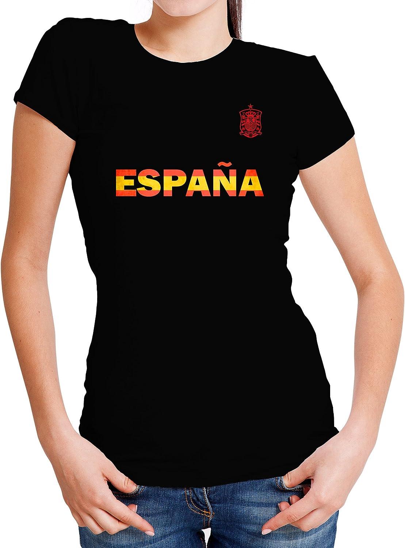 LolaPix Camiseta España Personalizada con tu Nombre y Dorsal | Selección Española | Varios Diseños Tallas | 100% Algodón | Mujer| Negra: Amazon.es: Hogar