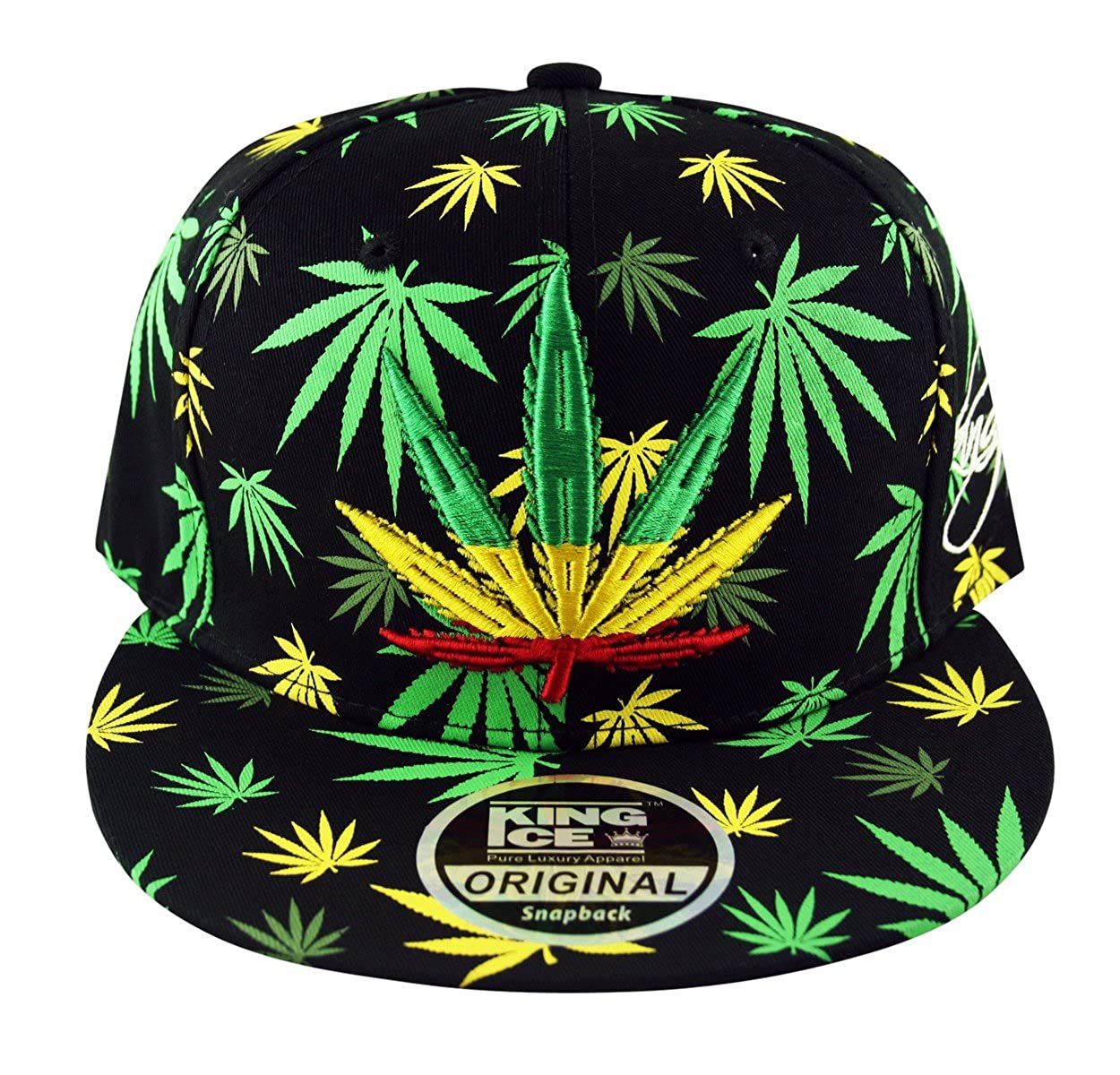 02ffff751b773 King Ice Rasta Snapback Baseball Cap Weed Leaf Flag Hat Black and Yellow  Green All Over  Amazon.co.uk  Clothing