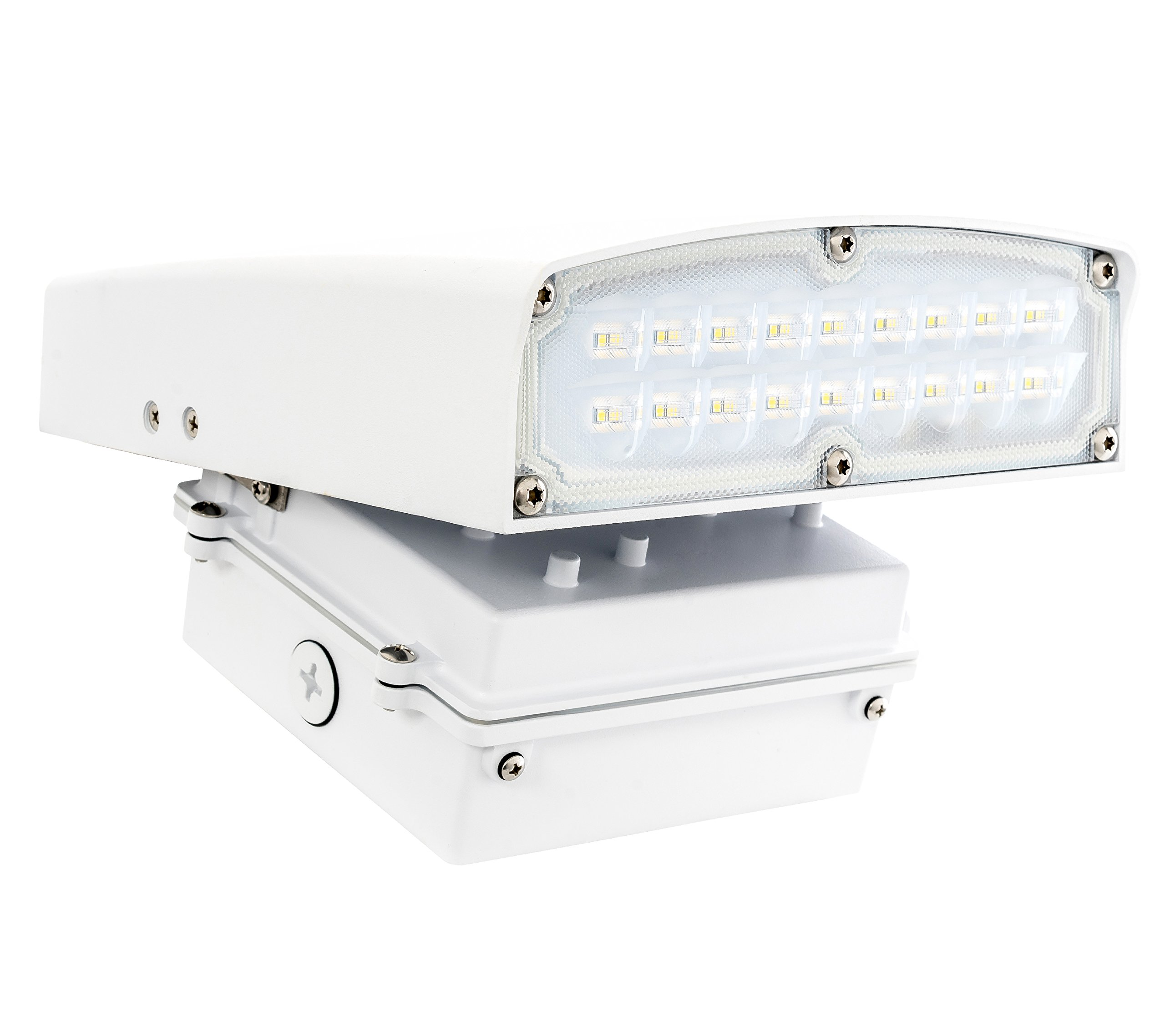 Westgate Lighting White LED Adjustable Cutoff Wall Pack Outdoor Series – High Lumen – Waterproof IP54 – UL Listed DLC Approved – 120-277V – 7 Year Warranty (30W, 5000K Cool White)
