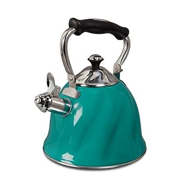 Mr. Coffee 92114.01 Alderton 2.3 Quart Stainless Steel Whistling Tea Kettle, Green