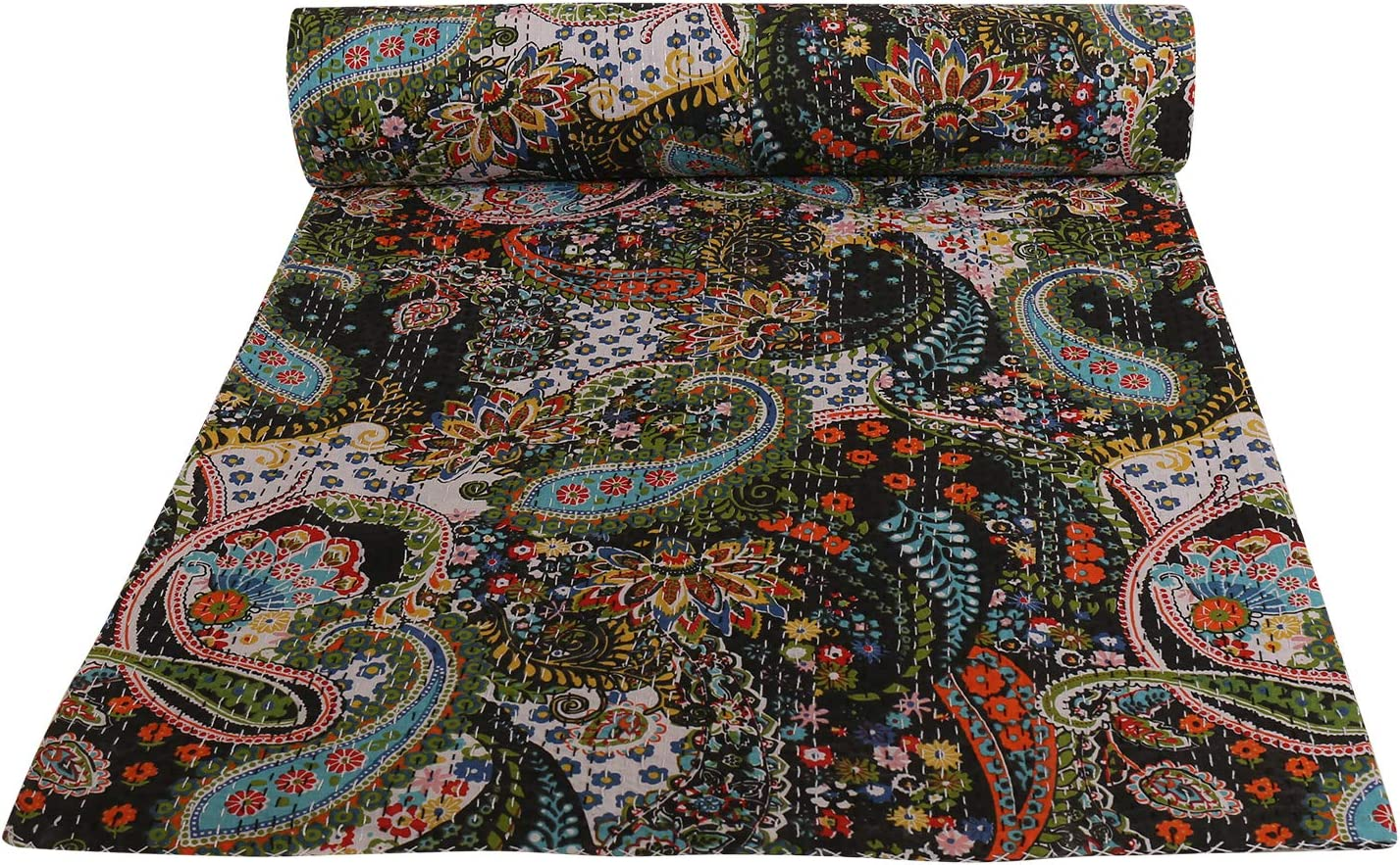 Indian-Shoppers Handmade Cotton Kantha Bed Sheet Hippie Bedroom Decor Kantha Gudri Ethnic Black Paisley Quilts Reversible Queen Size Indian Coverlets Bohemian Comforter