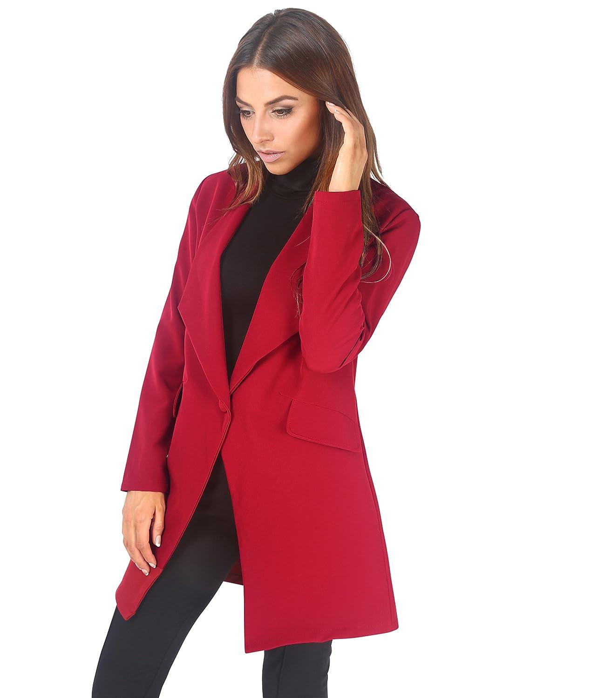 Krisp® Giacca blazer da donna oversize, lunga e ampia, con un bottone