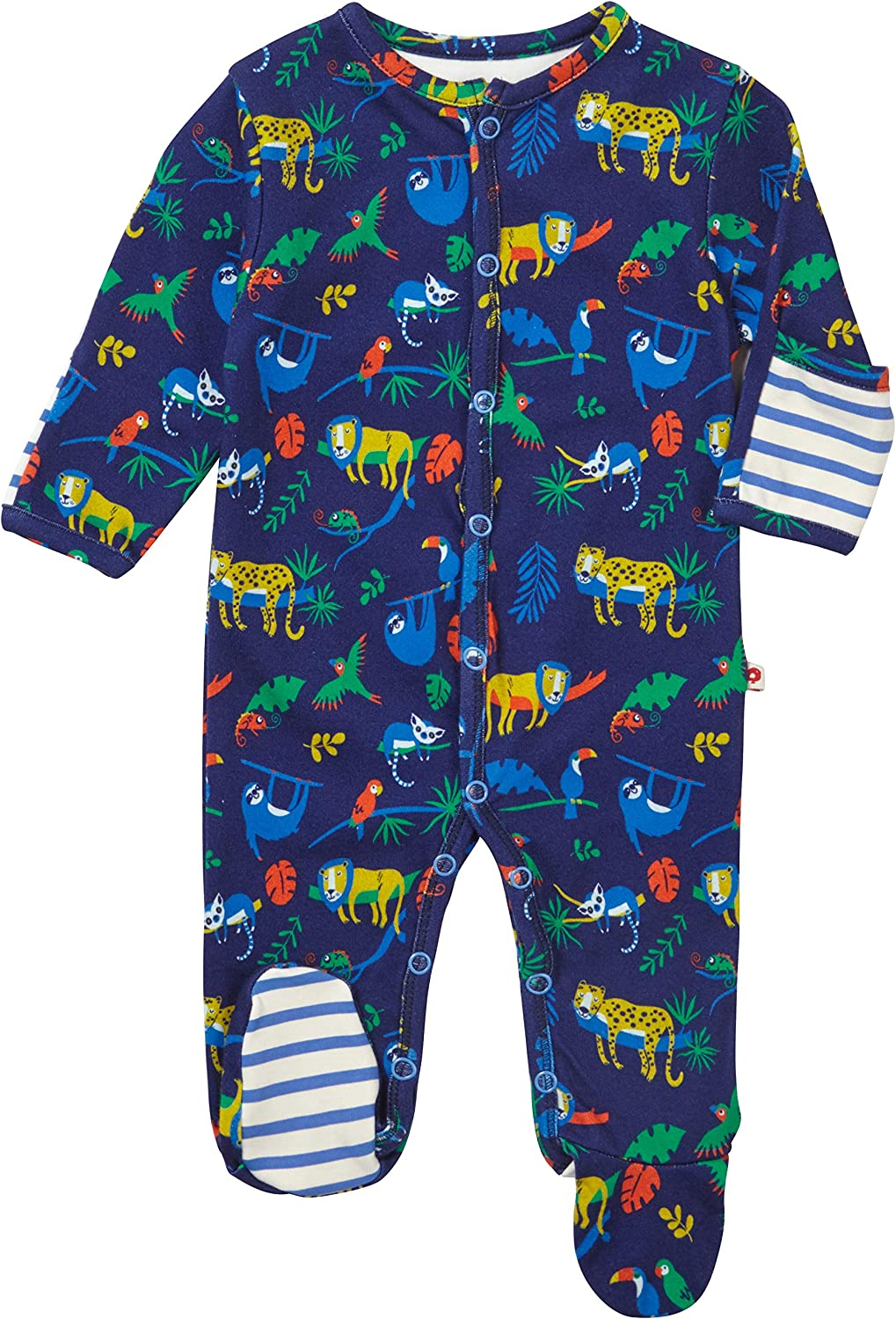 Piccalilly Baby Boys Navy Blue Footed Sleepsuit Animal Safari