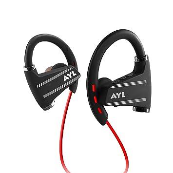 Ayl auriculares Bluetooth, Inalámbrico auriculares deportivos con micrófono IPX5 resistente al agua HD auriculares de