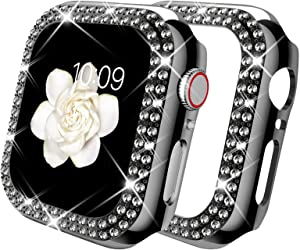 DABAOZA Compatible for Apple Watch 42mm Case Bumper, Bling Women Girl Dressy Crystal Diamonds Hard Glossy Shiny Crystal Rhinestone Protective Frame for iWatch Case 42mm Series 3/2/1 (Black,42mm)