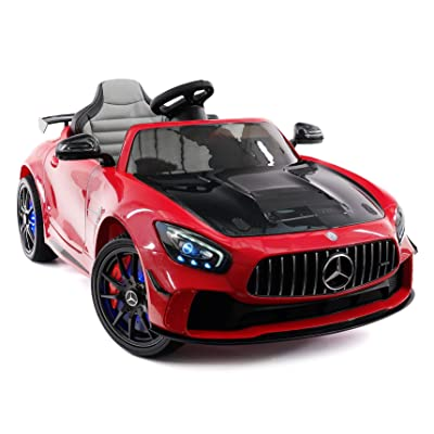 Moderno Kids Mercedes GT 12V Power Children Ride-On Car with R/C Parental Remote + EVA Rubber LED Wheels + Leather Seat + MP4+MP3 Video/Music Player + LED Lights + Rubber Floor Mats (Cherry Red): Toys & Games