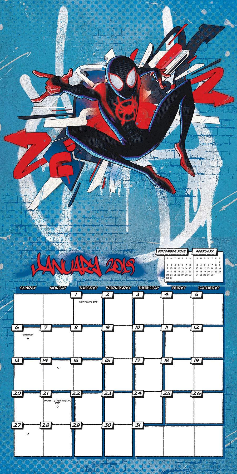 2019 Spider Man Into The Spider Verse Wall Calendar 0057668896506