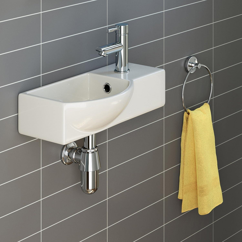 Bathroom sink pics - Ibathuk Modern Ceramic Small Cloakroom Basin White Wall Hung Bathroom Sink Ca1006 Ibathuk Amazon Co Uk Kitchen Home