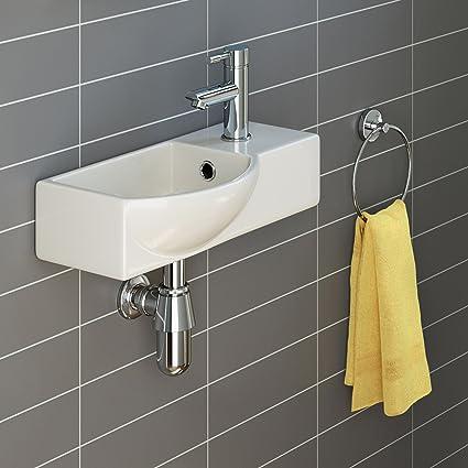 Ibathuk Modern Ceramic Small Cloakroom Basin White Wall Hung Bathroom Sink Ca1006