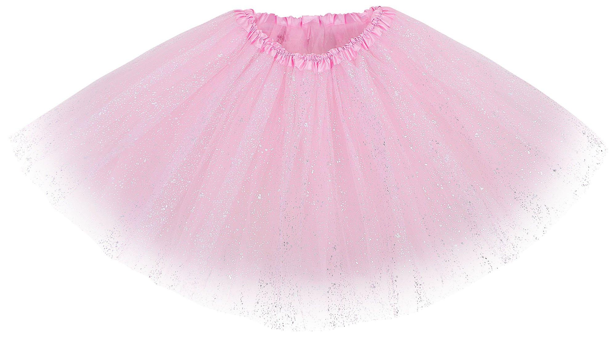 Women's Three Layered Ballet Style Tutu Skirt,Light Pink_sparkling