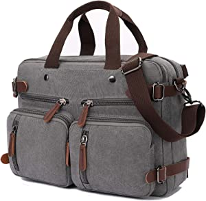 Convertible Laptop Backpack 17.3 Inch Messenger Bag for Men/Women (17.3 Inch, Grey)