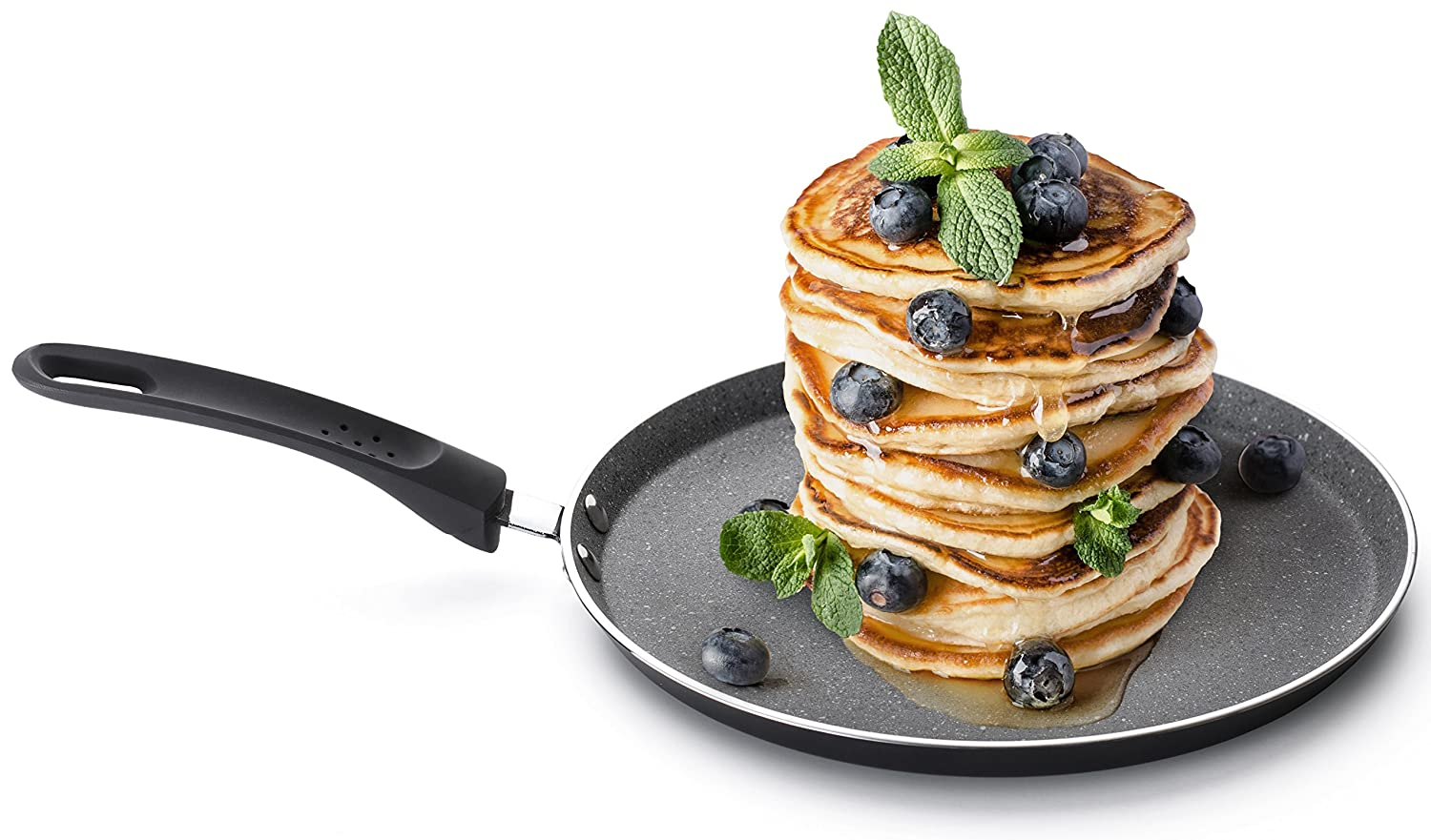 "Crepe Pancake Pan with a Non-Stick Coating Induction 25cm (9.8""), 100% PFOA Free, SoftTouch Handle, Scratch Resistant, All Heat Sources, Perfectly Flat and Easy to Flip by Rosmarino"