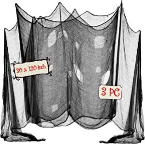 OZMI Halloween Creepy Cloth, Pack of 3 Scary Spooky Cloth Creepy Gauze, 30 x 120inch Freaky Loose Weave Creepy Cloth, Decorations for Haunted Houses Props Halloween Wall Outdoor Indoor Decor (Black)