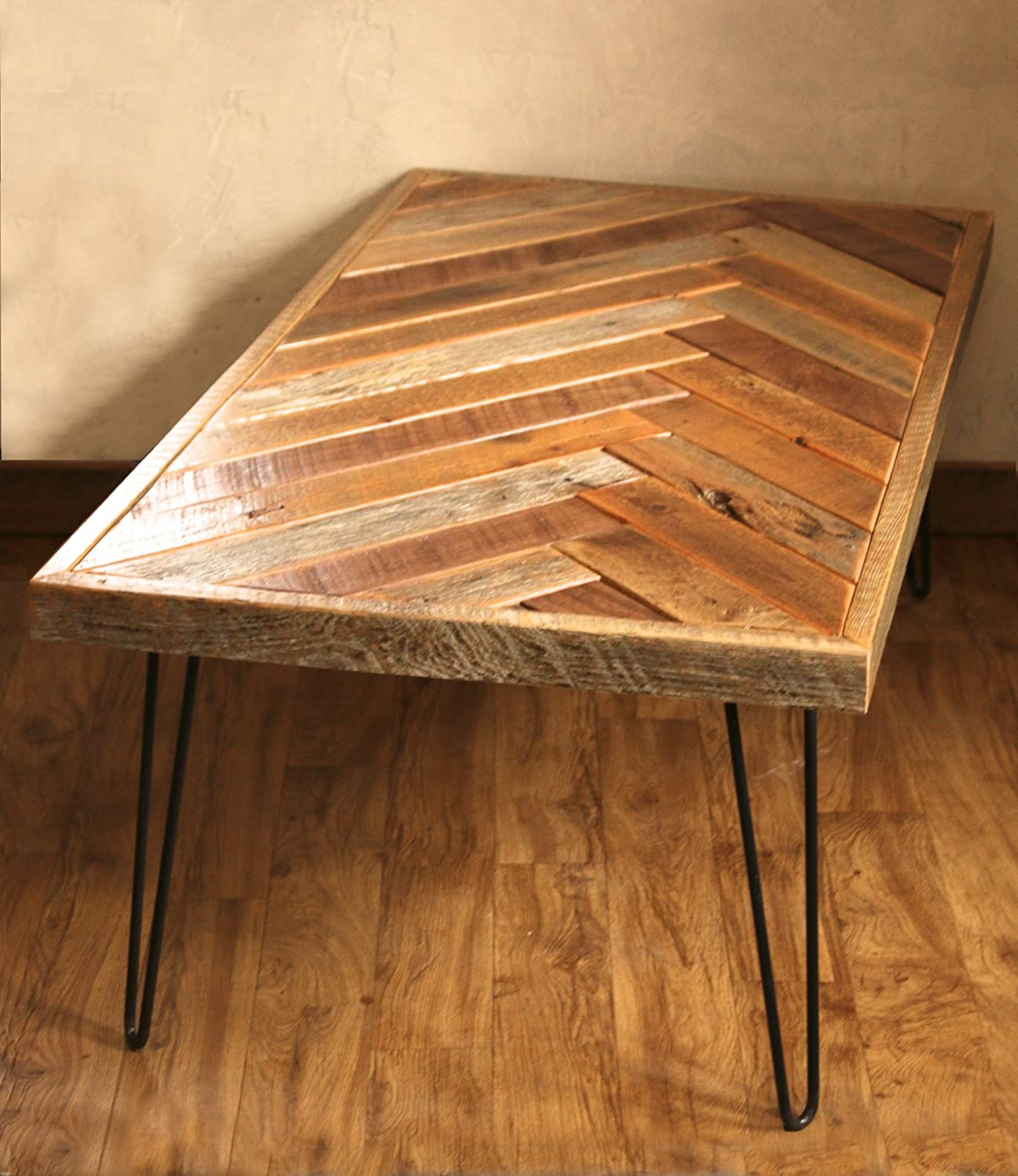 Amazon Barn wood herringbone coffee table with metal hairpin