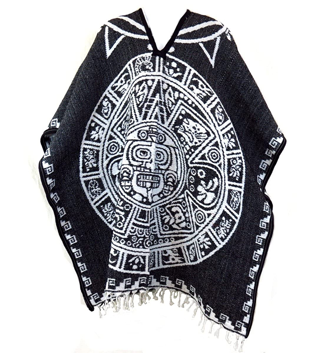 Aztec Calendar Authentic Mexican Poncho Reversible Cobija Blanket
