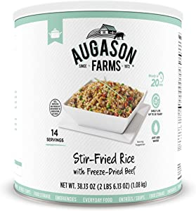 Augason Farms Stir-Fried Rice with Freeze-Dried Beef No. 10 Can, White