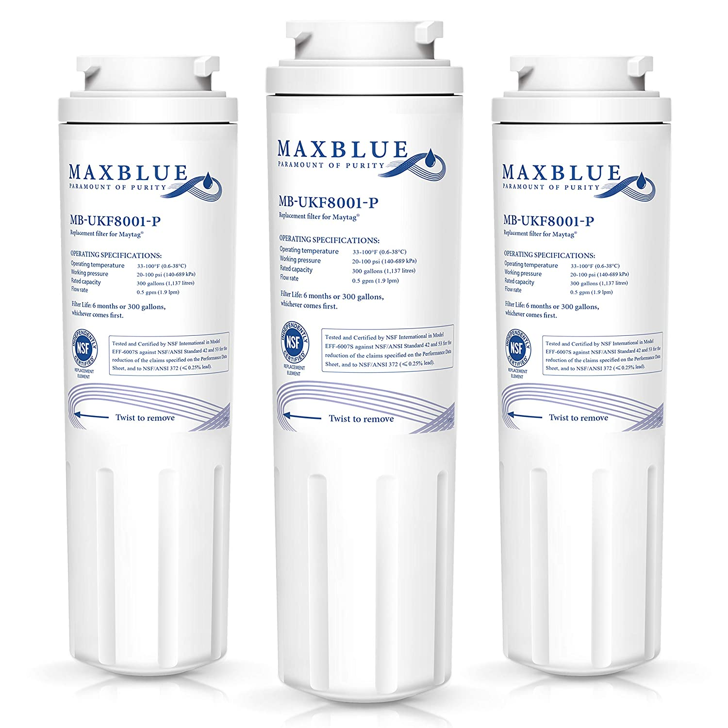 Maxblue NSF 53&42 Certified UKF8001 Refrigerator Water Filter, Replacement for Maytag PUR, Jenn-Air, Filter 4, 4396395, UKF8001AXX, UKF8001AXX-200, 469006, Puriclean II, 8171032, 469992, Pack of 3