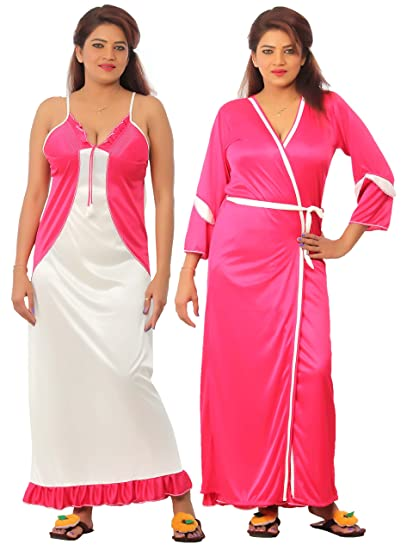 Bailey Women S Satin Jacket Night Gown Combo Pack Of 2 Pink Free