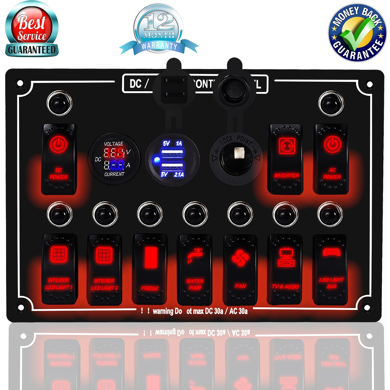 DCFlat 4/6/8/10 Gang Circuit LED Car Marine Waterproof 5 Pin Boat Rocker Switch Panel with Fuse Dual USB Slot LED Light + Power Socket Breaker Voltmeter for RV Car Boat (10 Gang Overload Protection-) by DCFlat
