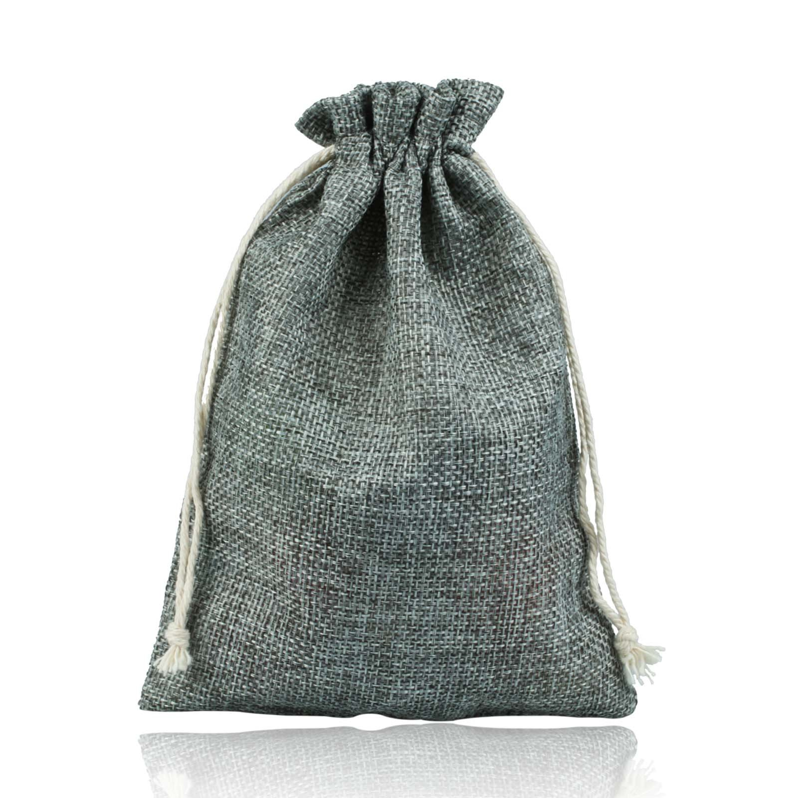 vLoveLife Silver Burlap Candy Bags Jute Wedding Gift Bag With Drawstring Wedding Party Favor Gift Pouches 5'' x 7'' - Pack Of 50
