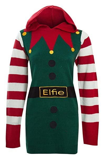 Womens Hooded Novelty Ugly Christmas Elf Green Red Stripe Jumper Sweater Top