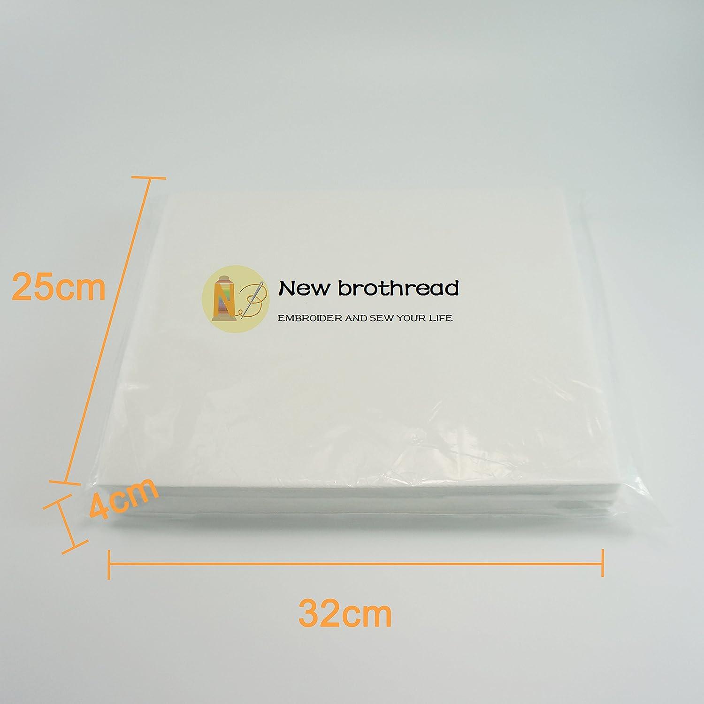 Peso Medio 70gm stabilizzatore per Ricamo 10x12 25cmx30cm - 100 Fogli New brothread Cut Away - Si Adatta allarea Massima di Ricamo 20cmx25,5cm Tagliare Via 2.5oz