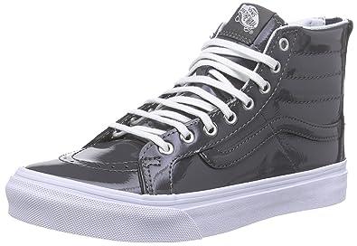 334d4d81bb4c5f Vans Unisex Tumble Patent SK8-Hi Slim Zip Pewter Sneaker - 4