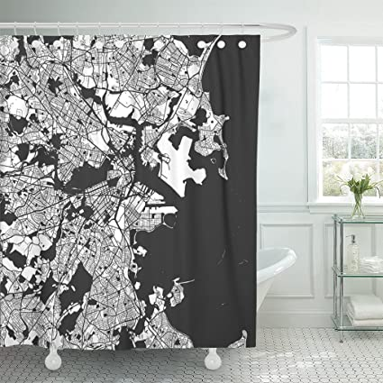 Emvency Shower Curtain Boston Monochrome Map Artprint Outline Ready For Color Change Waterproof Polyester Fabric 72