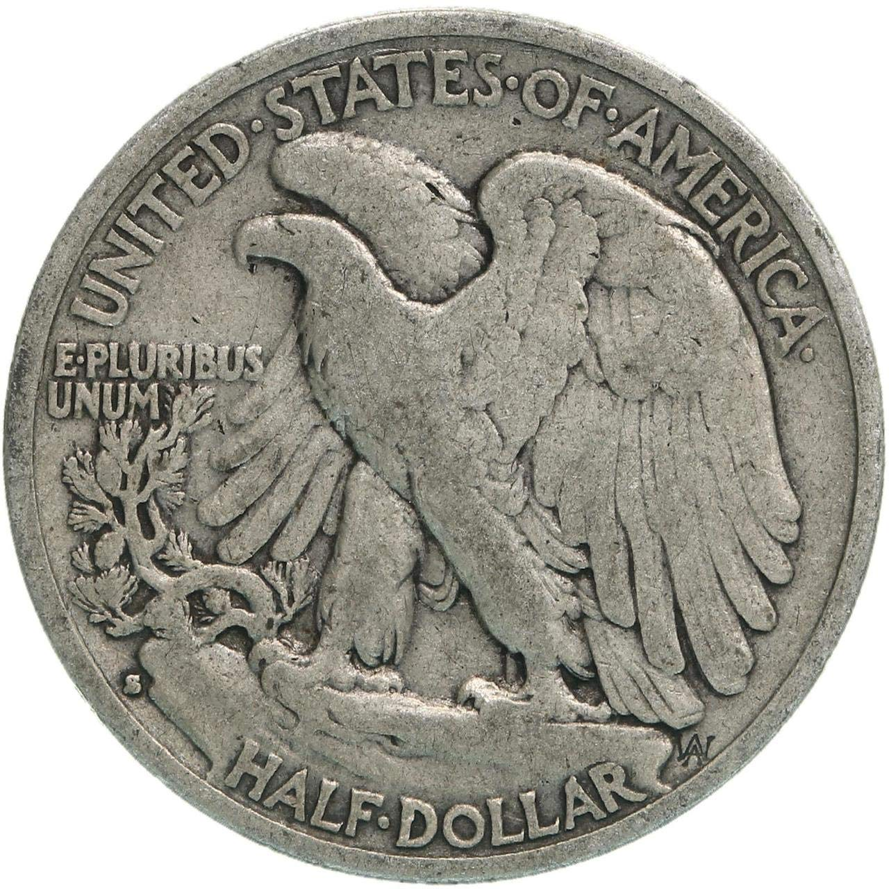 1935 S Walking Liberty 90/% Silver Half Dollar Grades Fine to XF with Full Rim Date and Motto US Mint