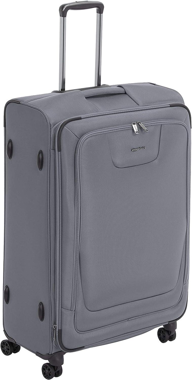 AmazonBasics - Maleta con ruedas de calidad superior, expandible, con lados blandos y cierre con candado TSA, 74cm, Gris