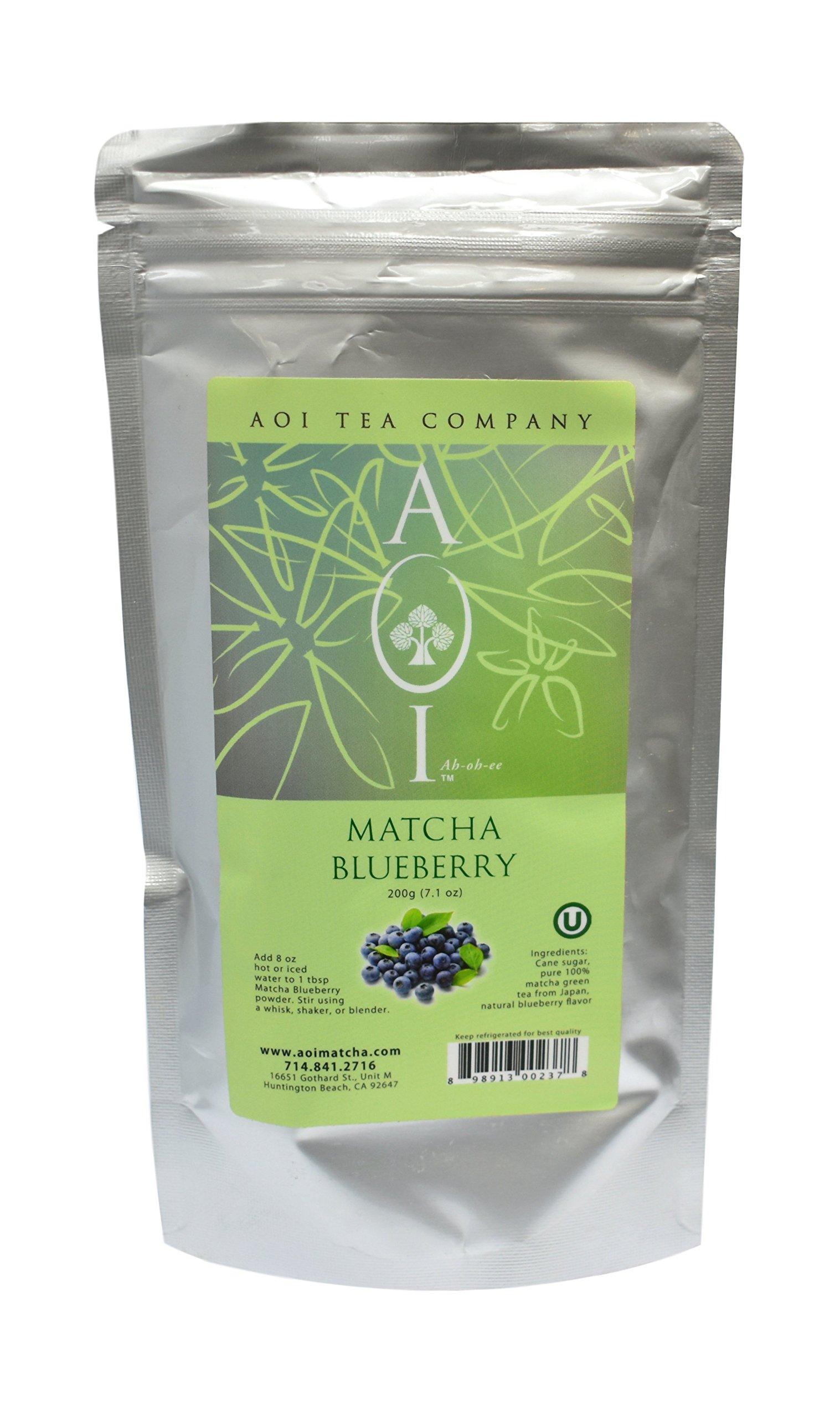 AOI Tea - Matcha Blueberry - Green Tea Powder Blend - 200 grams (7.1 Ounces)