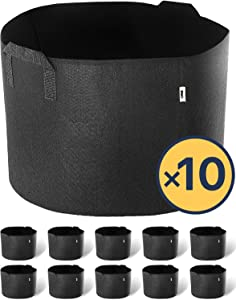 iPower 10-Gallon 10-Pack Grow Bags Fabric Aeration Pots Container with Strap Handles for Nursery Garden and Planting(Black)