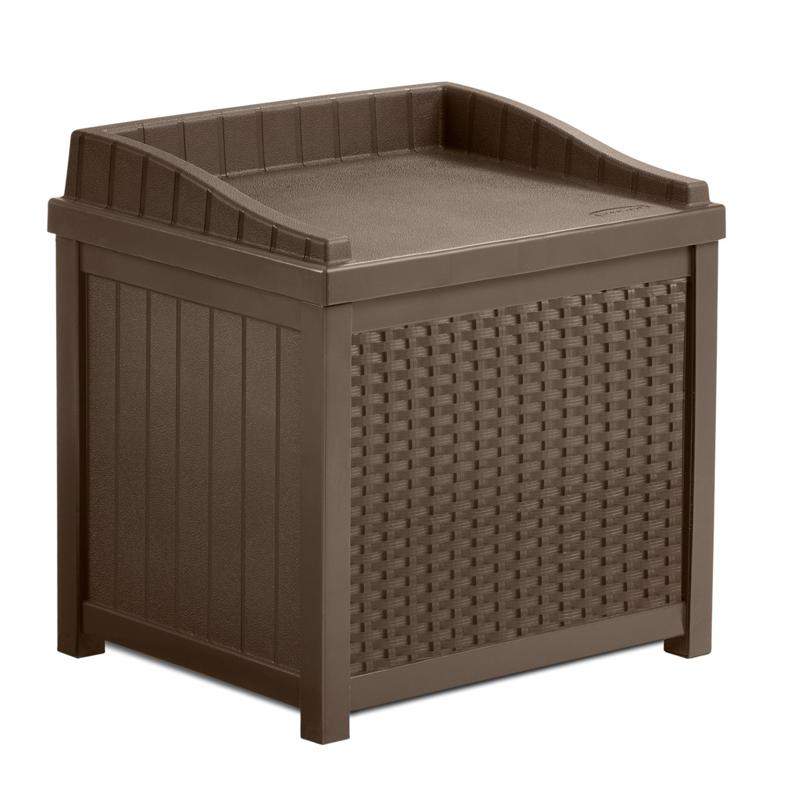 Stylish Outdoor Resin Small Storage Seat Deck Box, Contemporary Wicker Design, Long-Lasting Resin Construction, Combines Seating And Storage Solutions, Large 22-Gallon Storage Capacity, Brown Finish