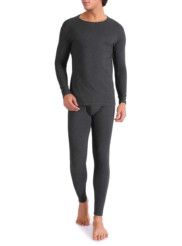 2dd3293c17 Genuwin Set de Ropa Térmica para Hombre - Conjunto Térmico de Algodón con  Forro Polar Camiseta Manga Larga   Pantalones Largos - Ropa Interior de  Invierno ...