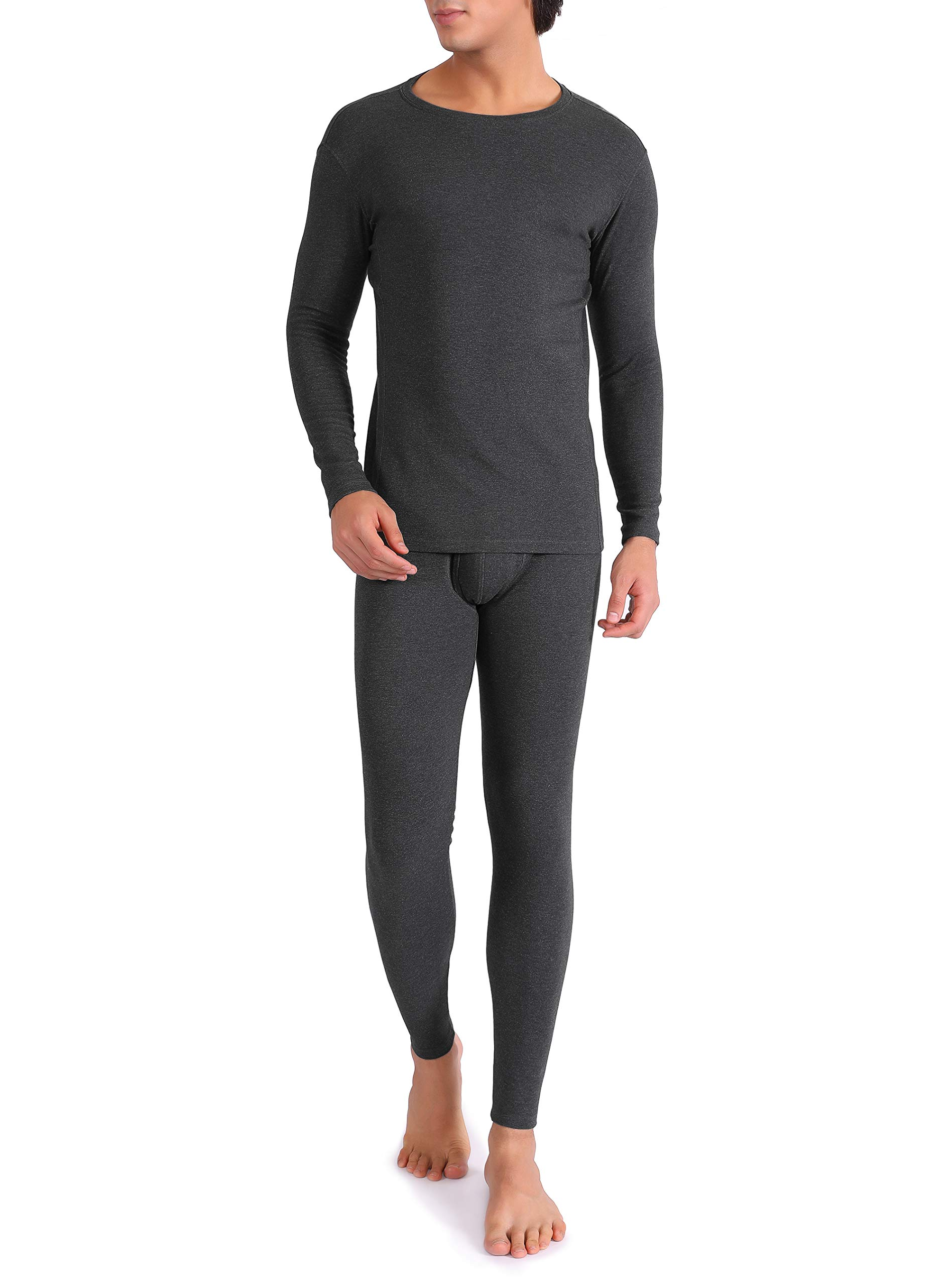 4f4d3bf5b38fe Active Mens Thermal 2 Pc Long John Underwear Set Compression Ultra Soft Fleece  Lined Tops Shirt and Bottom Tights Baselayers