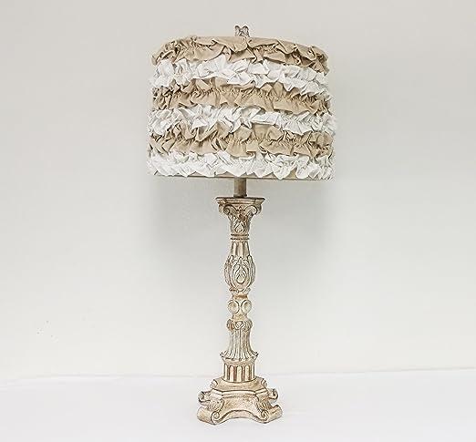 Mestar Decor 27u0026quot; Whitewash Candlestick Table Lamp W/Round Skirt Trim  Hardback Shade