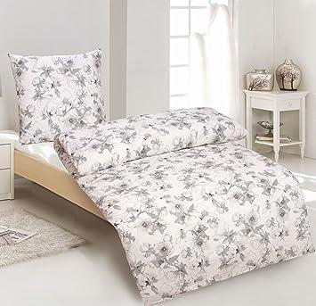 Protex 2tlg Bettwäsche Baumwolle Renforce Blumen Weiß 135x200 Mit